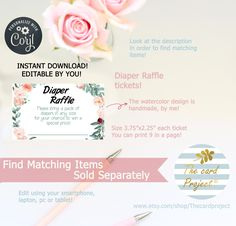 Digital Invitations, Shower Invitations, Happy Birthday Template, Diaper Raffle Tickets, Baby Shower Diapers, Watercolor Design, Birthday Wishes, Place Card Holders, Templates