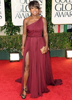 This wine colored Grecian look sported by Viola Davis is great for your bridesmaids.