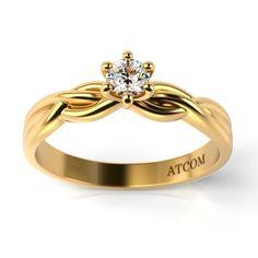 Inel de logodna din aur galben cu diamant Vasily