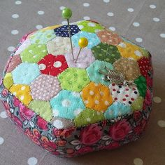 Check out this item in my Etsy shop https://www.etsy.com/listing/549282261/hexagon-pin-cushion-polka-dot-pincushion