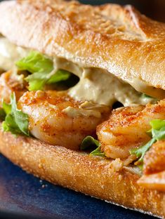 Recipe, grocery list, and nutrition info for Spicy Shrimp Sandwich w/ Chipotle Avocado Mayo. Spicy shrimp sandwich with a spread so good you could eat it by the spoonful. Shrimp Sandwich, Sandwich Bar, Soup And Sandwich, Sandwich Recipes, Fish Recipes, Seafood Recipes, Dinner Recipes, Cooking Recipes, Salad Sandwich