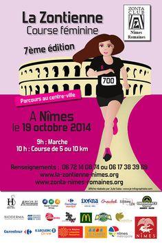 #Affiche publicitaire réalisée par la #graphiste Julie Saba pour la course féminine la Zontienne organisée chaque année par le Zonta Club de Nîmes.