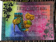 """25.3.2016 Playful art journal page 6 - There is something about heels. Dylusions paints and Sprays in waterbrushes, white Pan pastel and Versamark in Seawhite hardcover art journal (25x19 cm / 10""""x7.5"""").  http://romanassunnycreation.blogspot.ch"""
