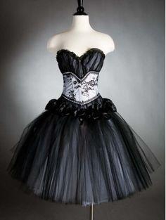 Short Black and White Gothic Corset Prom Dress Fuffles - £89.10