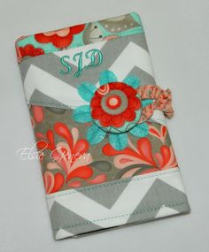 Personalized Grey Chevron Red Nectarine Pink Aqua by elsiegeneva. Great color combo.