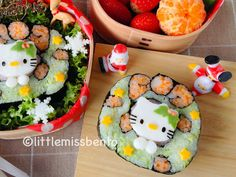 Christmas Wreath Kitty Sushi Art Roll クリスマスリースの飾り巻き寿司