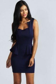 Olivia Square Neck Peplum Bodycon Dress - Dresses - Clothing