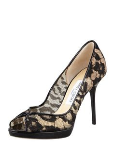 Belgio Lace Peep-Toe Pump by Jimmy Choo at Bergdorf Goodman.