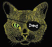 Cat Pirate - yellow on black by Sally Barnett