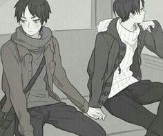 Eren, Levi, yaoi, EreRi, RiRen, blushing, holding, hands, bus, metro; Attack on Titan
