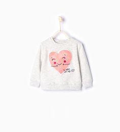 Heart print sweatshirt-Sweatshirts-Baby girl-Baby | 3 months - 3 years-KIDS | ZARA United States