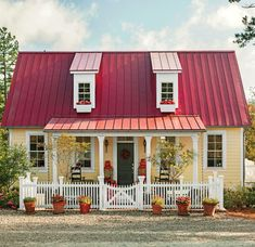 """The cottage at the farm was mentioned in the Huff Post article """" 8 Dream Homes That Aren't McMansions. The cottage combines green construction principles with a historically-aware design that references a Southern farmhouse. Porch House Plans, Cottage House Plans, New House Plans, Cottage Ideas, Cottage Living, Living Room, Southern Farmhouse, Southern House Plans, Southern Living"""