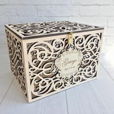 Personalized Wedding Card Box With Slot Lock Wedding money box Rustic card box Lockable card box Wedding bank Wedding card box Wedding card