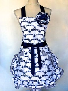 Womens Cowboys Football Print Full Double by OliviabyDesign, $33.95 #Cowboys apron #Womens Apron