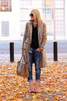 leopard coat with casual outfit