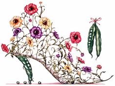 Vintage Shoes Illustration Decoupage 35 Ideas For 2019 Flower Shoes, Flower Art, Flowers In Hair, Pretty Flowers, Shoes Clipart, Picture Tree, Jimmy Choo, Cinderella Shoes, Paper Flowers Diy