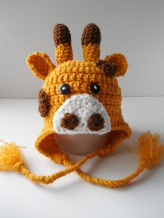 Giraffe Baby Hat  0 to 3 Months by ShelleysCrochetOle on Etsy, $10.00