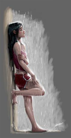 sad girl with umbrella Crying Girl Drawing, Cry Drawing, Girl In Rain, Dancing In The Rain, Sad Girl Art, Sad Drawings, Rain Art, Sad Pictures, Cool Sketches