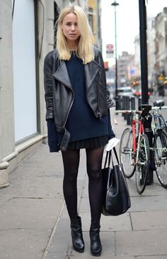 great outfit with leather jacket