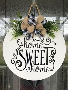 Door Hanger Home Sweet Home Sign Front Door Decor Wood Door image 5 Welcome Signs Front Door, Front Door Decor, Front Door Wreaths, Wood Crafts, Diy Crafts, Wood Board Crafts, Christmas Crafts, Christmas Decorations, Diy Christmas Gifts For Parents