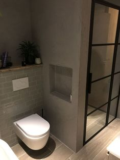 Bathroom Niche, Bathroom Floor Plans, Bathroom Toilets, Downstairs Bathroom, Bathroom Flooring, Small Bathroom, Bathroom Design Inspiration, Modern Bathroom Design, Bathroom Interior Design