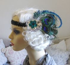 Peacock blue feather flapper headband.. £22.00, via Etsy.