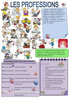 Les PROFESSIONS fiches - iSLCollective.com – Fiches pédagogiques gratuites French Verbs, French Grammar, French Teacher, Teaching French, Colegio Ideas, French Worksheets, French Education, Core French, French Classroom