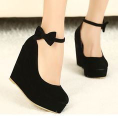 Buy New Sexy Lady Red Black Bow High Heels Womens Shoes Wedges Fashion Womens Pumps at Wish - Shopping Made Fun Pretty Shoes, Beautiful Shoes, Cute Shoes, Me Too Shoes, Awesome Shoes, Wedge Heels, High Heels, High Wedges, Black Wedges