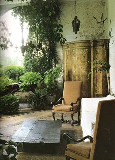 Indoor garden room vintage furniture plaster walls - All For Herbs And Plants Outdoor Rooms, Outdoor Gardens, Outdoor Living, Outdoor Decor, Indoor Outdoor, Outdoor Ideas, Indoor Pond, Beautiful Space, Beautiful Homes