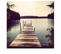 Empty Dock Photo, Lake Photography, lake, brown, blue, lake house, water, mountains coastal living, lake print, lake art