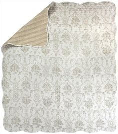PersonalizeMyBabyBlanket.com - Manual Woodworkers Silver Toile Floral Reversible 50' x 60' Cotton Quilt Throw Blanket, $53.00 (http://personalizemybabyblanket.com/silver-toile-floral-reversible-50-x-60-quilt-throw-blanket/)