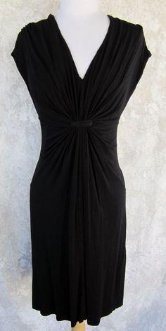 VELVET Dress LARGE Black Knotted Bodice Vee Neckline Jersey Pull On #Velvet #EmpireWaist #LittleBlackDress