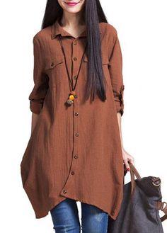 Long Sleeve Button Closure Asymmetric Hem Shirt on sale only US$32.06 now, buy cheap Long Sleeve Button Closure Asymmetric Hem Shirt at lulugal.com