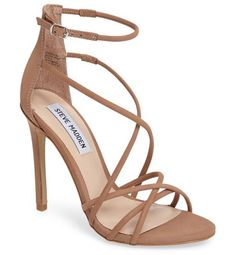 strappy sandal by Steve Madden. Perfect for a glamorous evening event or night on the town, this strappy leather sandal is lofted by a slim stiletto ...