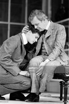 Actors Sir Anthony Hopkinsand Colin Firth in a scene from Arthur Schnitzler's play The Lonely Road. The Old Vic in London. 5th February 1985.