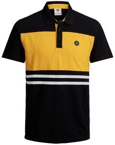 Black and yellow polo by Jack & Jones. Camisa Polo, Polo Shirts, Boys T Shirts, Man Fashion, Kids Fashion, Black N Yellow, Black And Grey, T Shorts, Ralph Lauren Style