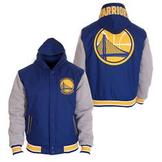 Golden State Warriors JH Design Men's Poly-twill Fleece Reversible Hooded Jacket - Royal