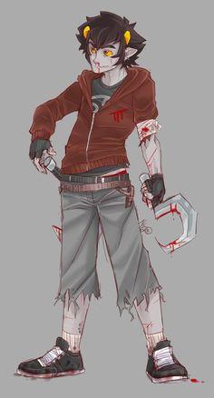 Post-Apocalypse Karkat by robotRainbows on DeviantArt Homestuck Characters, Home Stuck, Post Apocalypse, Gravity Falls, Steven Universe, Troll, Cosplay, Deviantart, Comics
