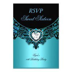 RSVP Sweet Sixteen 16 Birthday Party Aqua Blue Custom Announcements