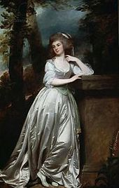 """Near life-size (94""""*58"""") portrait of Lady Anne de la Pole (1758–1832) (née Templer), wife of Sir John de la Pole, 6th Baronet, painted in 1786 by George Romney. Sold at Christie's London on 13th July 1913, purchased by the dealers Duveen Brothers of New York for 40,000 guineas ($ 206,850), then a record price for any work of art sold in London.[5] Now at Museum of Fine Arts, Boston"""