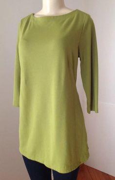 J Jill Medium Lime Green Ponte Knit Long Tunic Boat Neckline Round Hem EUC  | eBay