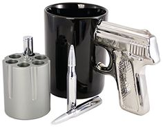 Gun Lover's Executive Gift Set (Includes Stainless Steel Revolver Pen Holder, Pistol Grip Coffee Mug, Stainless Steel Bullet Pens, and a Gift Bag with Tissue Paper) - Pre-Made Gift Bag  Great gift for someone in the military, a hunter, a target shooter, or Second Amendment advocate. Men LOVE gifts like this. Perfect for a birthday, Christmas or even Valentines gift for a man.