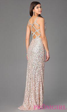 Sequin V-Neck Floor Length Prom Dress