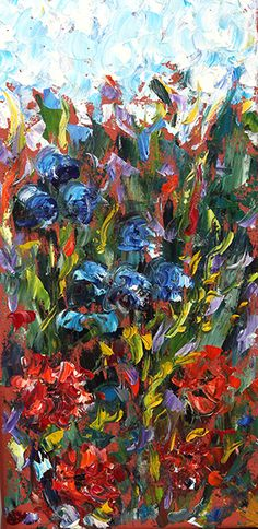 """Daily Painters Abstract Gallery: Original Palette Knife Flower Landscape Painting """"Burst of Spring"""" by Colorado Impressionist Judith Babcock"""