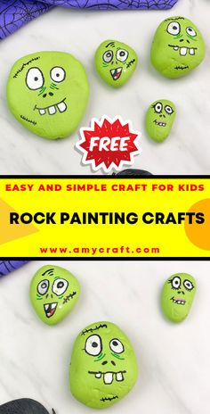 Zombie Halloween Painted Rocks - Easy Popsicle Crafts for Kids. Click to Find the Tutorial Here! #DIY #Popsicle #Craft Creative Arts And Crafts, Easy Crafts For Kids, Creative Kids, Popsicle Crafts, Rock Painting Ideas Easy, Kid Rock, Popsicles, Painted Rocks, Halloween