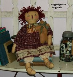 Primitive Raggedy Ann doll Dear Old Raggedy cupboard dolly with Gingerbread man #NaivePrimitive #RaggedysusieOriginals