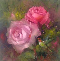 Hummingbird in the Roses by Gary Jenkins Oil Painting Flowers, Watercolor Paintings, Watercolor Cards, Painting & Drawing, Gary Jenkins, Romantic Roses, Rose Art, Types Of Art, Vintage Flowers