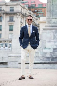 Mens late summer wedding guest outfit idea
