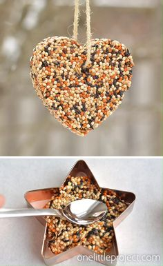 easy crafts These birdseed ornaments are SO EASY and they look gorgeous on the trees outside! They hold their shape perfectly and only need 4 ingredients! So pretty! Bird Seed Ornaments, Easy Ornaments, Garden Ornaments, Bird Seed Crafts, Homemade Bird Feeders, Homemade Bird Toys, Homemade Bird Houses, Homemade Gifts, Homemade Paint