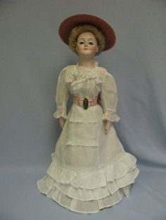 20 Early Doll KESTNER c1900 GIBSON GIRL Original Mohair Wig, Jointed from turnofthecenturyantiques on Ruby Lane GERMAN LADY DOLL